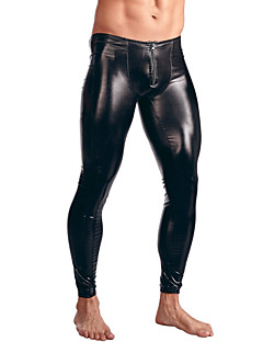 Male Sexy Solid Long Johns,Patent Leather
