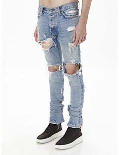 Herre Gatemote Punk & Gotisk Uelastisk Tynn Jeans Bukser,Tynn Mellomhøyt liv Denim Fargeblokk