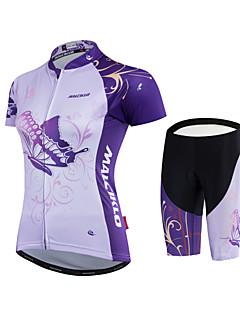 billige Sett med sykkeltrøyer og shorts/bukser-Malciklo Dame Sykkeljersey med shorts - Hvit Svart Sykkel Klessett Polyester