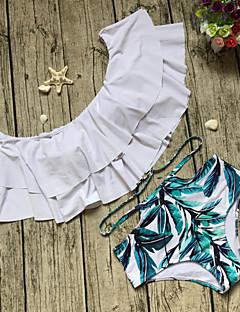 billige Bikinier og damemote 2017-Dame Løse skuldre Bandeau Bikini - Drapering Trykt mønster, Høy Midje Blomstret