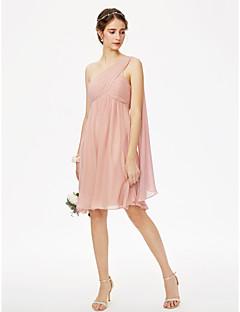 billige Romantisk rosa-A-linje Enskuldret Knelang Chiffon Brudepikekjole med Plissert Bølgemønster Kryssdrapering av LAN TING BRIDE®