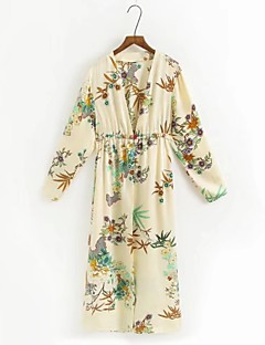 Women's Daily Street chic Spring Fall Trench Coat,Floral V Neck 3/4-Length Sleeve Long Others Lamb Fur