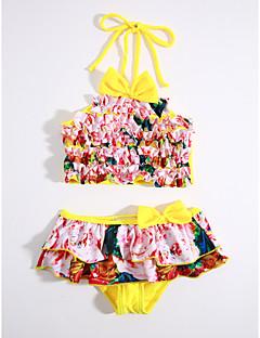 cheap Kids' New Ins-Girls' Stripes Ruffle Print Swimwear, Cotton Red
