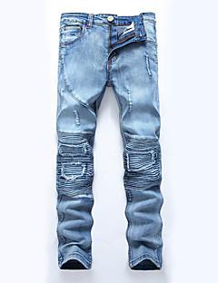 billige Herrebukser og -shorts-Herre Store størrelser Rett Tynn Jeans Bukser - Lapper dratt, Ensfarget Lapper