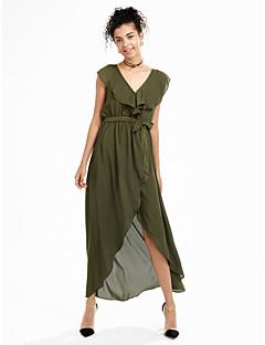 baratos Ponta de Estoque-Mulheres Fofo balanço Vestido Sólido Longo