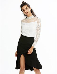 Χαμηλού Κόστους Nail The New-Season Fashion-Γυναικεία Μεγάλα Μεγέθη T-shirt Μονόχρωμο Στρογγυλή Ψηλή Λαιμόκοψη Δαντέλα Πολυεστέρας
