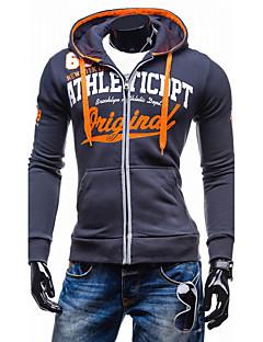 baratos Abrigos e Moletons Masculinos-Homens Esportes Activo Manga Longa Jacket Hoodie Letra Com Capuz