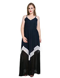 b9a6ed35ebd0e Women s Plus Size Party   Beach Vintage   Street chic Maxi Sheath   Chiffon    Swing Dress - Color Block   Patchwork Strap Spring Pink Navy Blue Royal  Blue ...