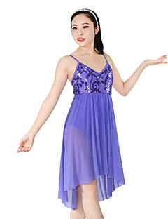 tanie Stroje baletowe-Baletki Sukienki Damskie Spektakl Poliester / Nylon / Spandeks Cekin / Drapowania / Falbany Bez rękawów Natutalne Sukienka / Czapki