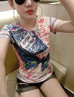 billige Topper til damer-Bomull T-skjorte Trykt mønster Dame