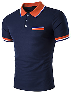 Men's Daily Casual Casual Summer Polo,Striped Patchwork Shirt Collar Short Sleeves Cotton Spandex Medium