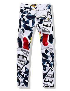 billige Herrebukser og -shorts-Herre Gatemote Store størrelser Tynn Rett / Jeans Bukser - Trykt mønster, Multi-farge / Helg