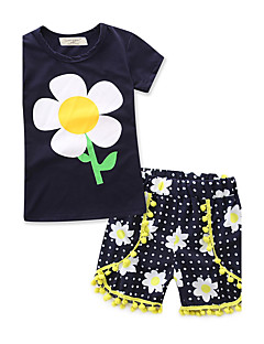 Girl's Fashion Printing Sets100% Cotton Summer T-shirt Short Pant Baby kids Clothing Set