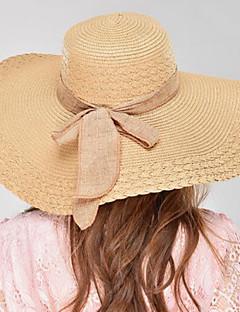 billige Trendy hatter-Dame Hatt / Vintage / Klassisk & Tidløs Solhatt - Ren Farge, Ensfarget Lin / Sommer