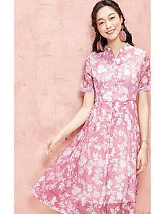Χαμηλού Κόστους I BELIEVE YOU-Γυναικεία Καθημερινά Swing Φόρεμα,Φλοράλ Κοντομάνικο Λαιμόκοψη V Ως το Γόνατο Πολυεστέρας Καλοκαίρι Ψηλοκάβαλο Ανελαστικό Λεπτό