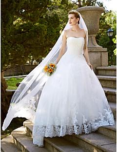billiga A-linjeformade brudklänningar-Balklänning / Prinsessa Axelbandslös Golvlång Spets på tyll Bröllopsklänningar tillverkade med Spets av LAN TING BRIDE®