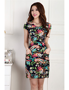 Women's Casual/Daily Simple Sheath Dress,Print Round Neck Above Knee Sleeveless Polyester Summer Mid Rise Micro-elastic Thin