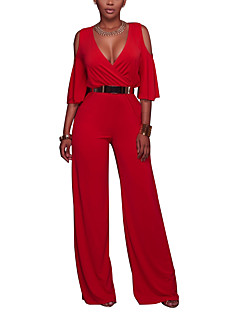 Women's Casual/Daily Club Simple Sexy Solid Fashion Hollow Deep V Jumpsuits,Slim Wide Leg Half Sleeves Spring Summer