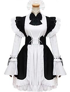 billiga Lolitaklänningar-Prinsessa Gotisk Lolita Dam Flickor Piguniform Cosplay Svart Balklänning Holk Långärmad Kort / mini Plusstorlekar Anpassad Kostymer