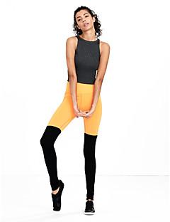 cheap -Women's Polyester Medium Cross - spliced Legging, Color Block Black Orange Fuchsia Green