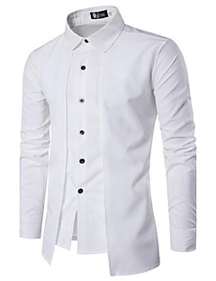 Men's Daily Casual Spring Fall Shirt,Solid Square Neck Long Sleeves Cotton Opaque