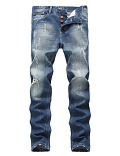 Herre Enkel Gatemote Høy Elastisitet Løstsittende Jeans Bukser,Avslappet Løstsittende Mellomhøyt liv Denim Ensfarget