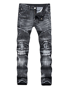 Men's Mid Rise strenchy Straight Slim Jeans Pants,Simple Street chic Straight Slim Jeans Stripe Solid Damask Print