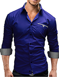 Men's Casual/Daily Simple Shirt,Solid Classic Collar Long Sleeves Cotton