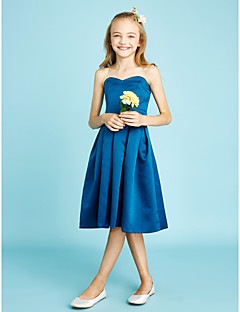 A-Line Sweetheart Knee Length Satin Junior Bridesmaid Dress with Sash / Ribbon by LAN TING BRIDE®