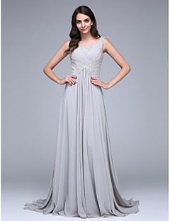 저렴한 특별한 이벤트 드레스-A-라인 스윗하트 코트 트레인 쉬폰 포멀 이브닝 드레스 와 아플리케 크리스 크로스 으로 TS Couture®