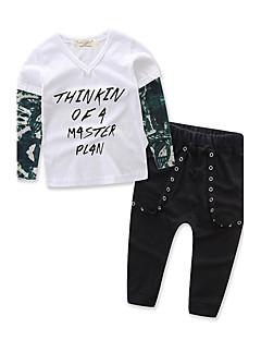 billige Tøjsæt til piger-Drenge Tøjsæt Vintage Mode, Bomuld Polyester/Bomuld Forår/Vinter Forår Langærmet Pænt tøj Sort
