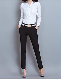 Women's Mid Rise Inelastic Slim Business Pants,Simple Slim Business Pure Color Solid