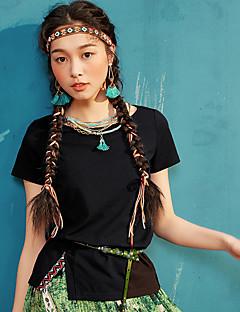 Χαμηλού Κόστους I BELIEVE YOU-Γυναικείο T-shirt Causal Απλό Μονόχρωμο,Κοντομάνικο Στρογγυλή Λαιμόκοψη Καλοκαίρι Λεπτό Μείγμα Βαμβακιού