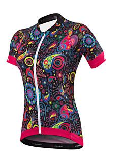 billige Sykkelklær-Malciklo Dame Kortermet Sykkeljersey - Svart Blomster / botanikk Britisk Sykkel Jersey, Fort Tørring, Anatomisk design, Ultraviolet