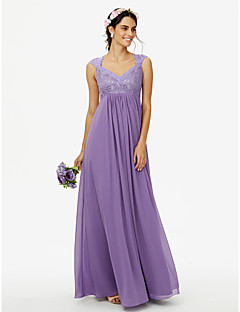 Sheath / Column Queen Anne Floor Length Chiffon Lace Bridesmaid Dress with Lace Pleats by LAN TING BRIDE®