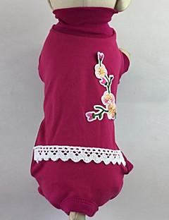billiga Hundkläder-Katt Hund T-shirt Jumpsuits Pyjamas Byxor Hundkläder Blommig/Botanisk Ros Grön Cotton Kostym För husdjur Herr Dam Ledigt/vardag