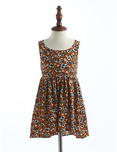 お買い得  子供用ファッション-女の子の 格子 プリント コットン ドレス 夏 ノースリーブ
