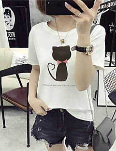 Women's Casual/Daily Holiday Cute Summer T-shirt,Solid Animal Print Round Neck Short Sleeve Cotton Medium