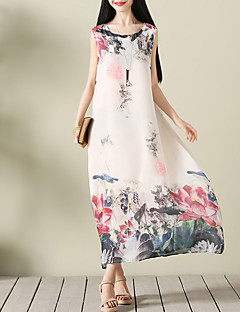 Women's Casual/Daily Street chic Ethnic Print Loose Chiffon Dress Print Color Block Round Neck Maxi Sleeveless Polyester Summer