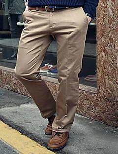 Herre Enkel Uelastisk Dress Chinos Bukser,Rett Tynn Mellomhøyt liv Ren Farge