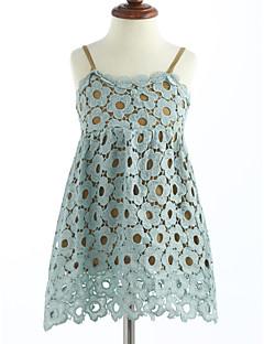 preiswerte Kinderkleidung-Mädchen Kleid Solide Gitter Baumwolle Sommer Ärmellos Spitze Leicht Blau