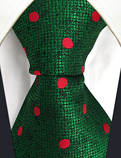 CS5 Unique Extra Long  Mens Ties Green Red Dots 100% Silk Business New Jacquard Woven For Men
