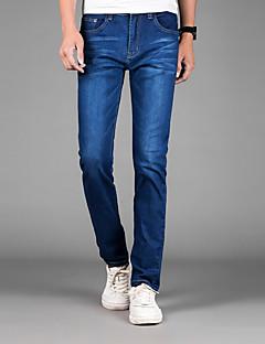 Pánské Jednoduchý Mikro elastické Upnuté Džíny Kalhoty Rovné Štíhlý Mid Rise Jednobarevné