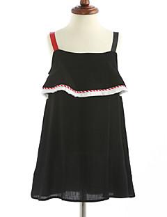 cheap Kids' New Ins-Girl's Solid Dress, Cotton Sleeveless Ruffle Black