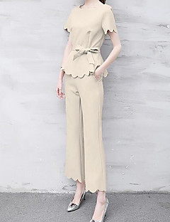 Women's Daily Casual Casual Glamorous & Dramatic Summer T-shirt Pant Suits,Solid Round Neck Short Sleeve Micro-elastic