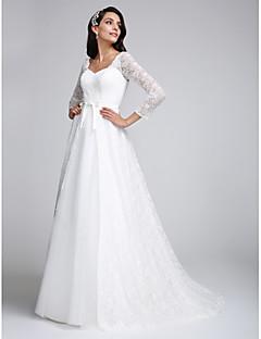 billiga Brudklänningar-A-linje V-hals Hovsläp Heltäckande spets Bröllopsklänningar tillverkade med Spets av LAN TING BRIDE® / Genomskinliga