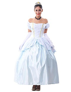 billige Voksenkostymer-Prinsesse Dyremønster Eventyr Cosplay Kostumer Party-kostyme Dame Jul Halloween Karneval Festival / høytid Halloween-kostymer Drakter Lyseblå Vintage