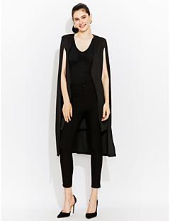 여성 솔리드 카울 넥 긴 소매 블레이져,심플 / 스트리트 쉬크 작동 / 캐쥬얼/데일리 화이트 / 블랙 폴리에스테르 봄 / 가을 중간