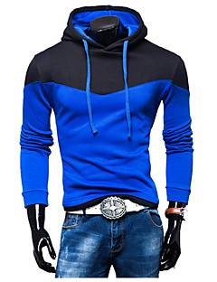 Men's Sports Casual/Daily Hoodie Solid Patchwork Hooded strenchy Cotton Long Sleeve Fall Winter