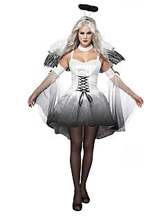 billige Halloweenkostymer-Fallen engel Cosplay Kostumer Vinger Hodeplagg Party-kostyme Dame Jul Halloween Karneval Festival / høytid Drakter Hvit / Svart Vintage